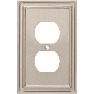Silverton 1-Gang Outlet Decorative Wall Plate, Satin Nickel