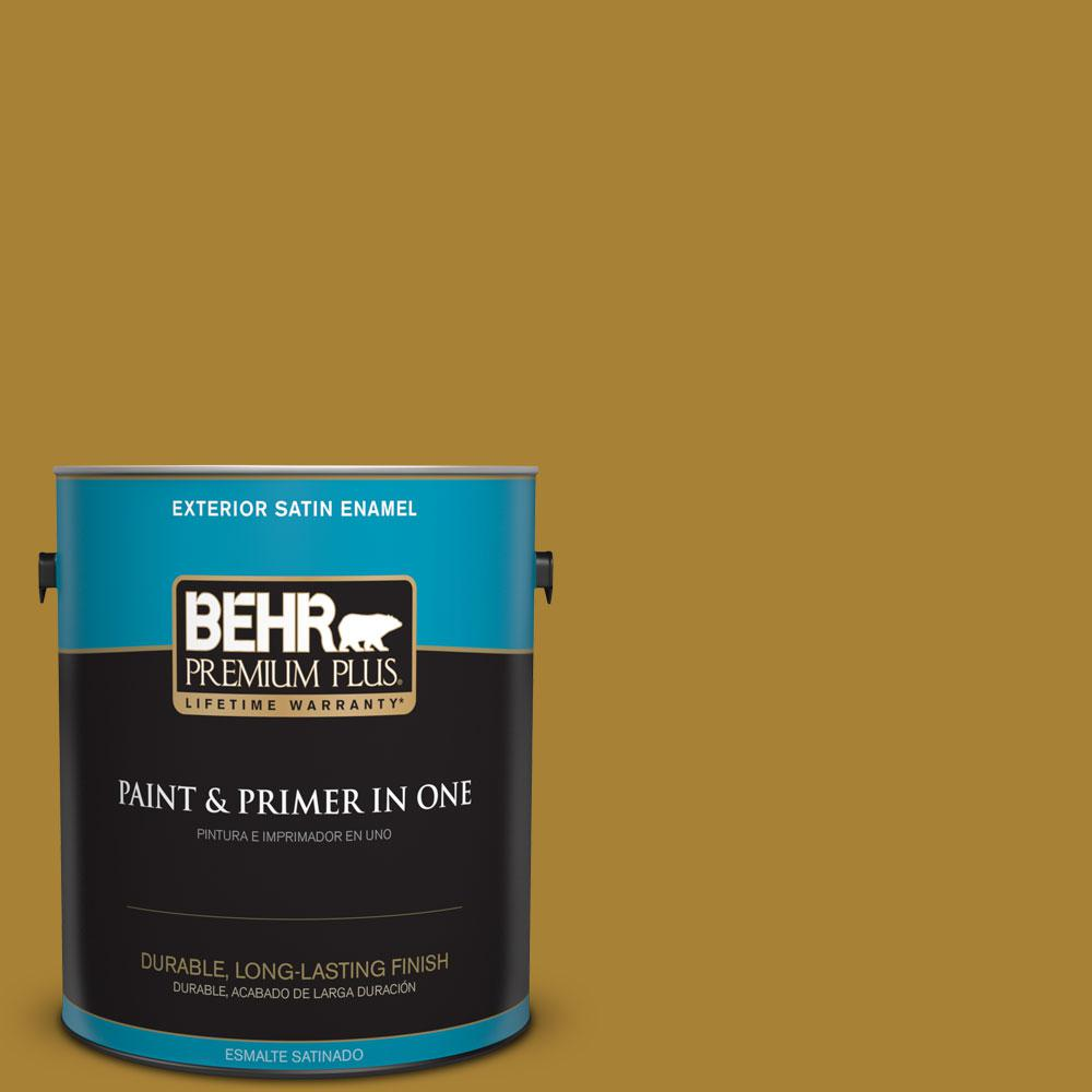 BEHR Premium Plus 1-gal. #340D-7 Golden Green Satin Enamel Exterior Paint