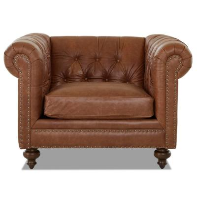 Blakely Brown Leather Chesterfield Chair