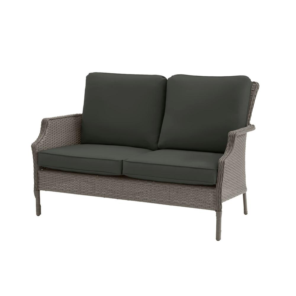 Hampton Bay Grayson Ash Gray Wicker Outdoor Patio Loveseat with CushionGuard Graphite Dark Gray Cushions was $249.0 now $199.2 (20.0% off)