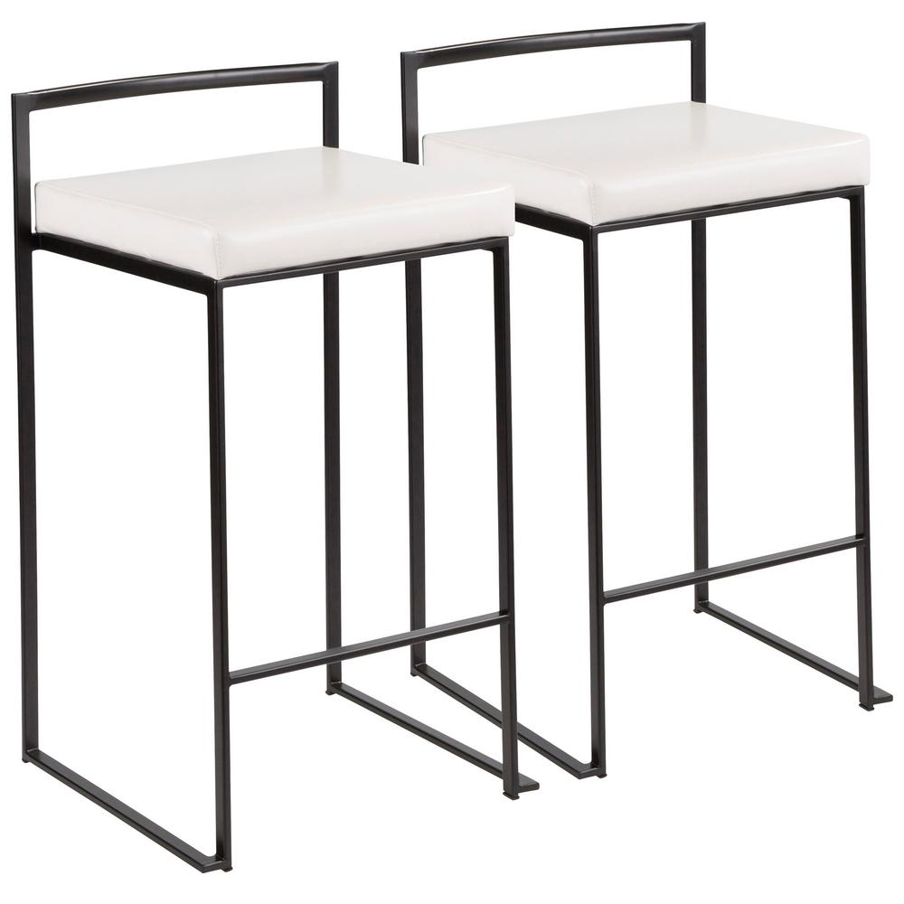 Fuji 26 in. Black Stackable Counter Stool with White Faux Leather