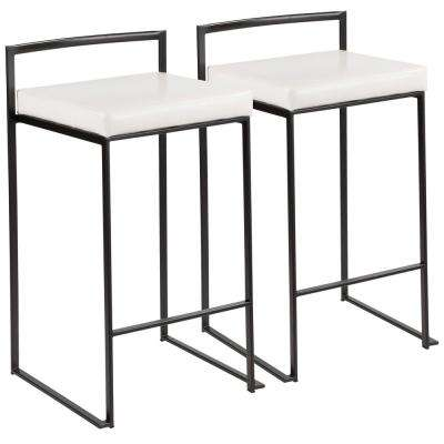 Fuji 26 in. Black Stackable Counter Stool with White Faux Leather Cushion (Set of 2)