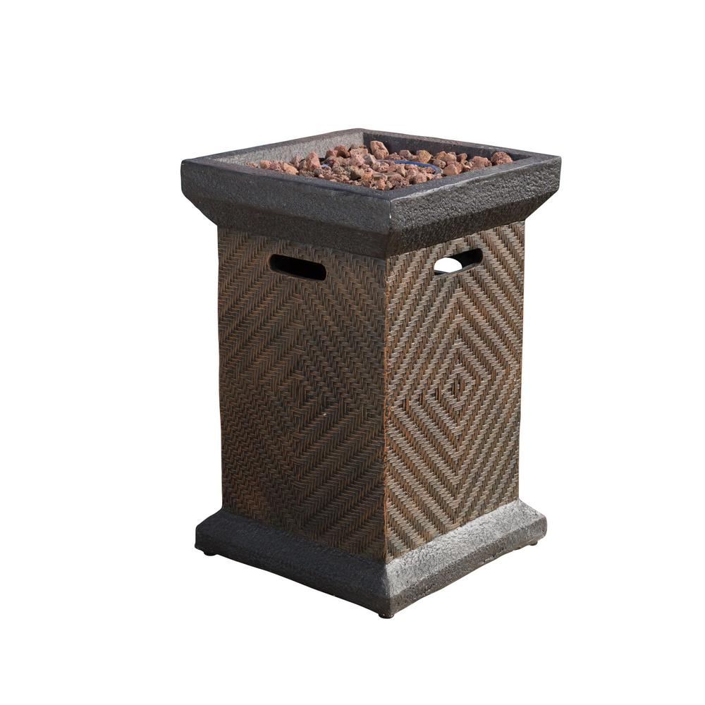 Noble House Gregory 19.5 in. x 29 in. Square MGO LPG Fire Pit in Brown Wicker