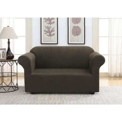 Chocolate Suede Stretch Fit Love Seat Slipcover