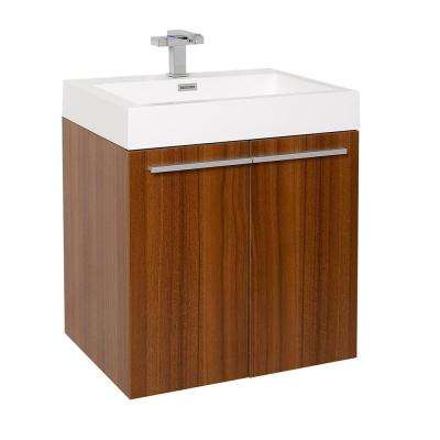 Alto 23 in. Bath Vanity in Teak with Acrylic Vanity Top in White with White Basin
