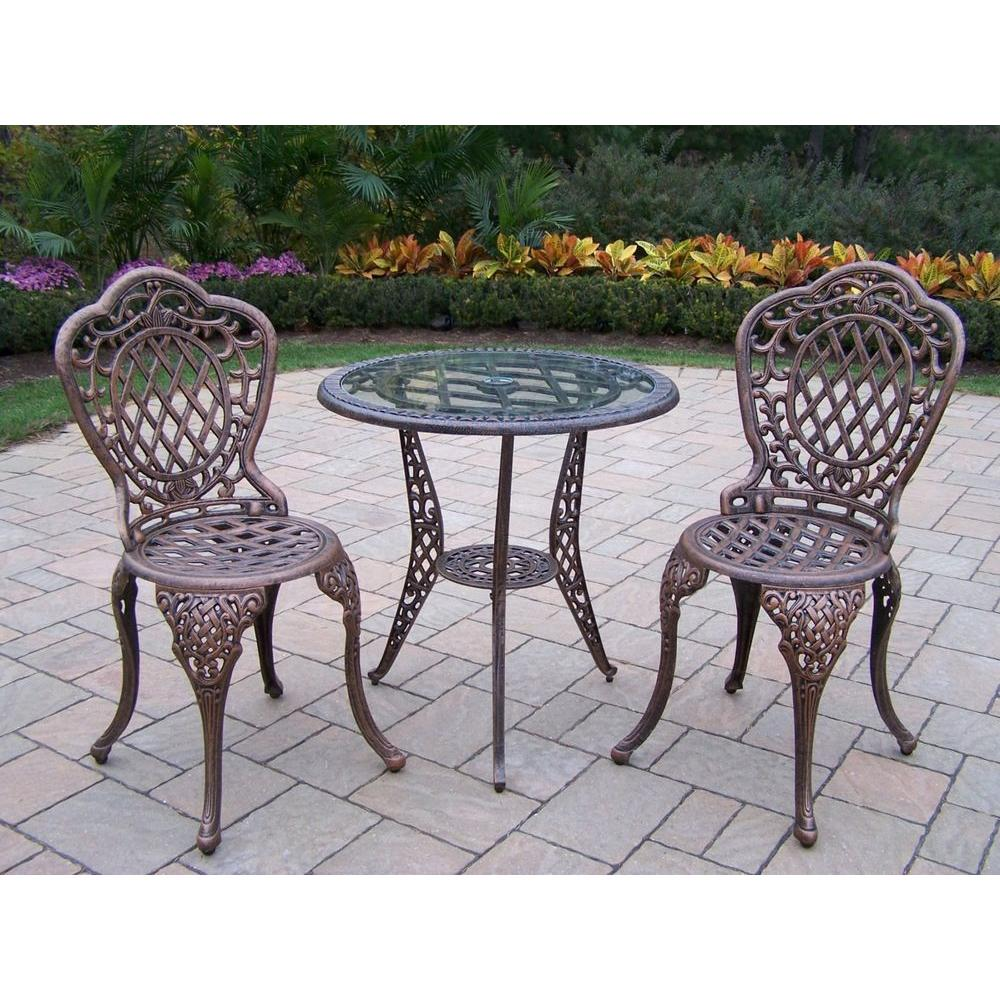 Oakland Living Mississippi Glass Top 3-Piece Patio Bistro Set