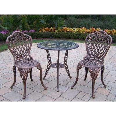 Mississippi Glass Top 3-Piece Patio Bistro Set