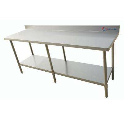 96 in. x 30 in. x 34 in. Stainless Steel Kitchen Utility Table Surface