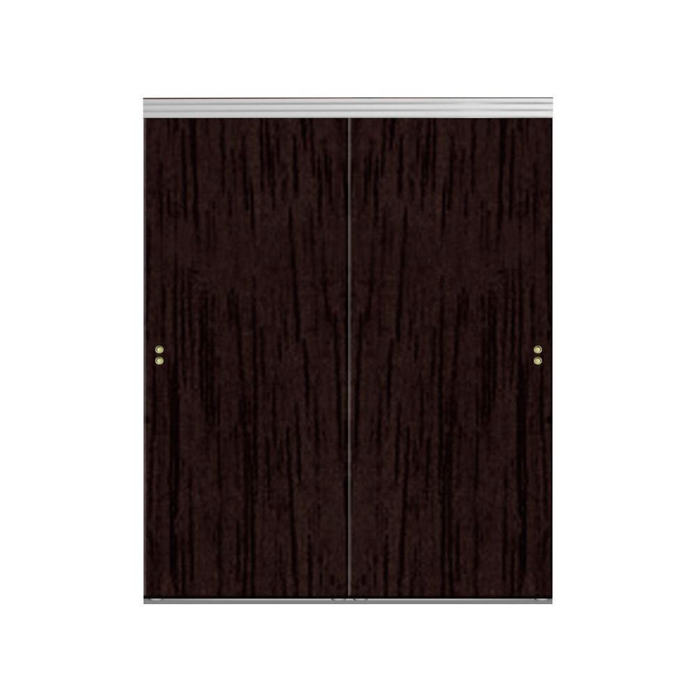 Smooth Flush Solid Core Primed Chrome Trim MDF Interior Closet Sliding Door