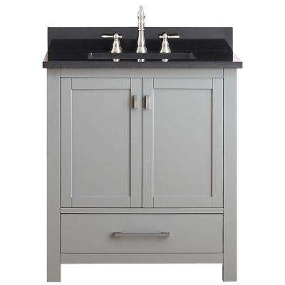 Modero 31 in. W x 22 in. D x 35 in. H Vanity in Chilled Gray with Granite Vanity Top in Black and White Basin
