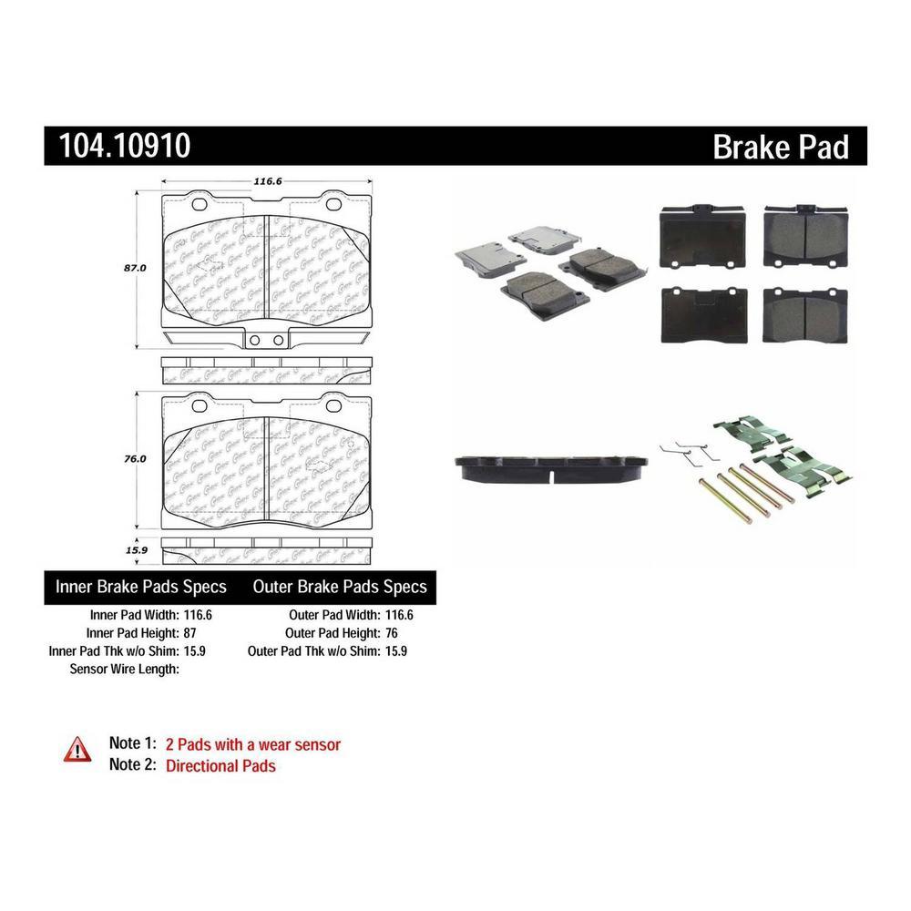 Centric Parts Disc Brake Pad Set 2005-2008 Acura RL-104