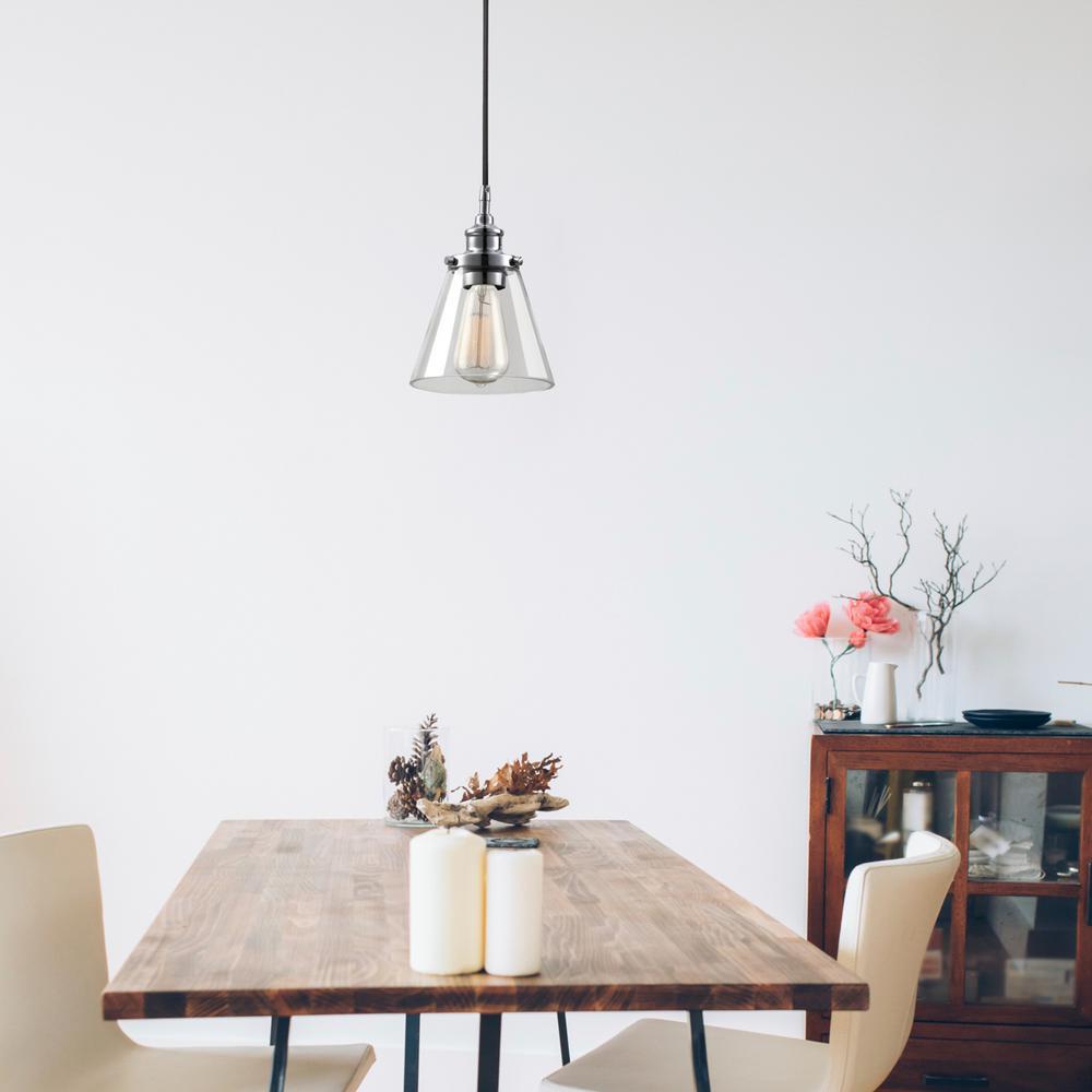 Mercer 1-Light Chrome and Black Vintage Industrial Hanging Pendant