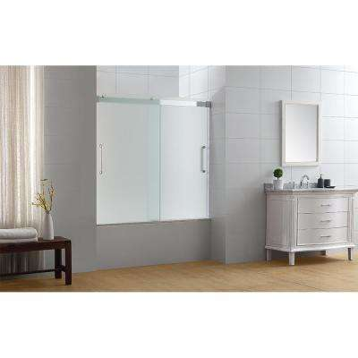 Beacon 60 in. x 59 in. Semi-Frameless Sliding Tub Door in Chrome with Handle