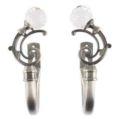 Crystal Ball Holdback Pair in Pewter