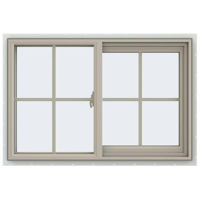 35.5 in. x 23.5 in. V-2500 Series Desert Sand Vinyl Right-Handed Sliding Window with Colonial Grids/Grilles