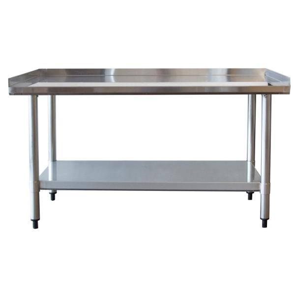 Stainless Steel 48 inch Catering Prep Table With Low Worktop