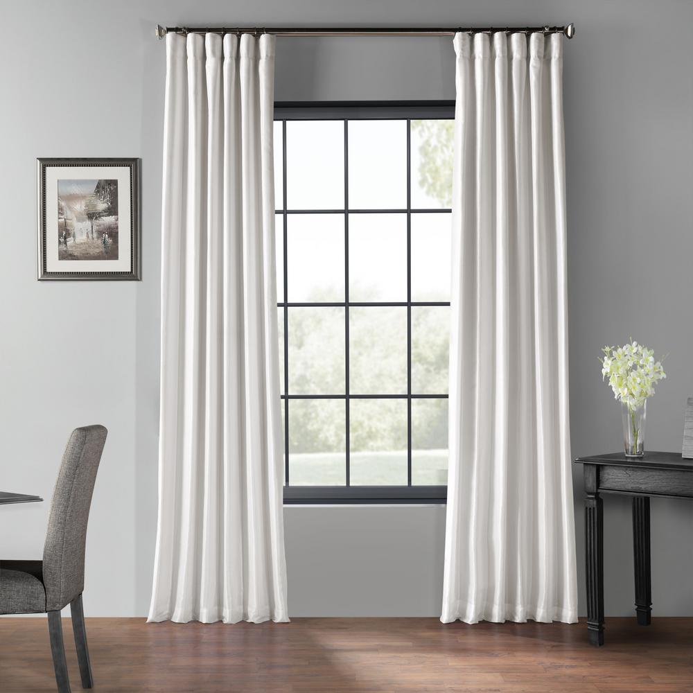 Exclusive Fabrics & Furnishings Ice White Blackout Vintage Textured Faux Dupioni Curtain - 50 in. W x 108 in. L