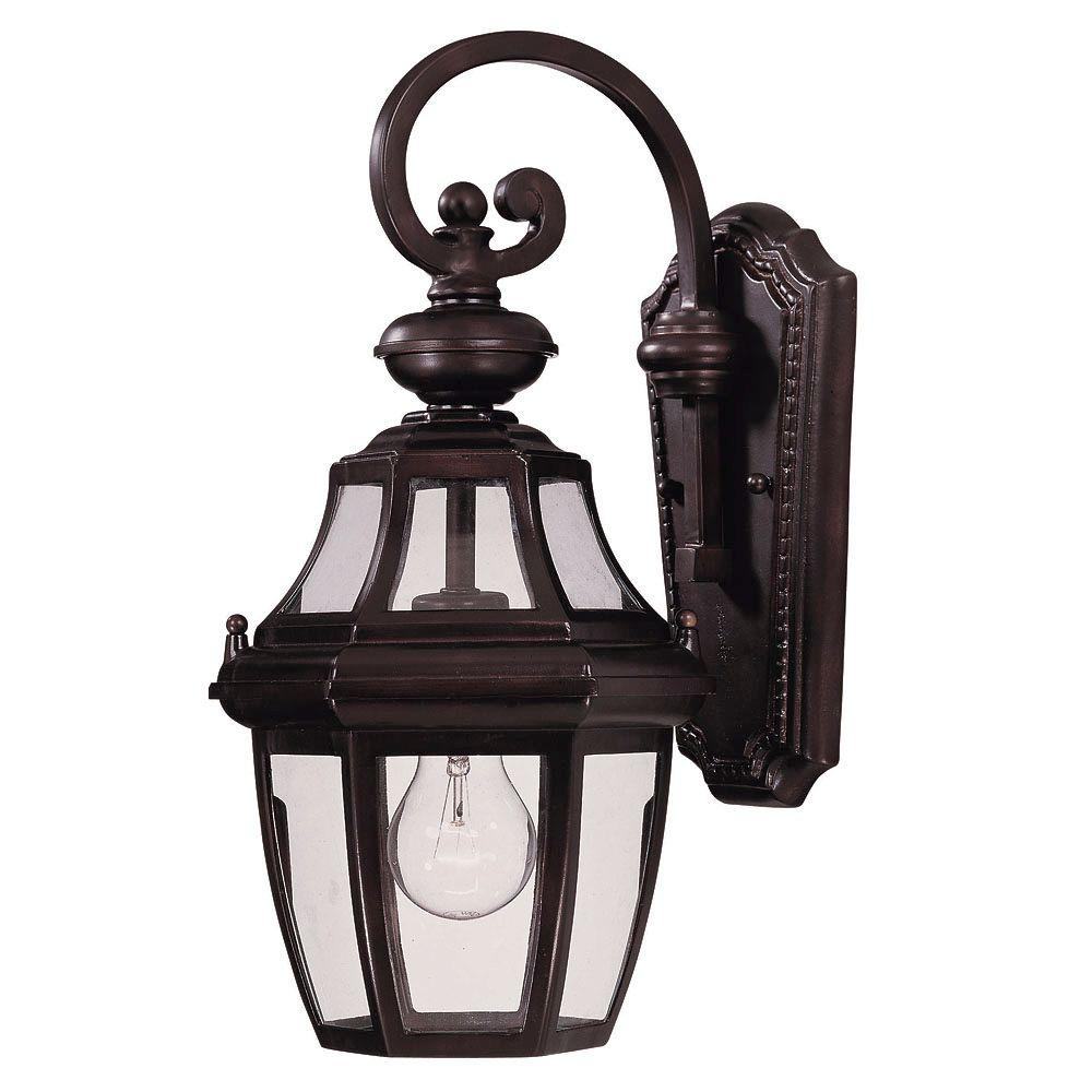1-Light Wall Mount Lantern English Bronze Finish Clear Glass