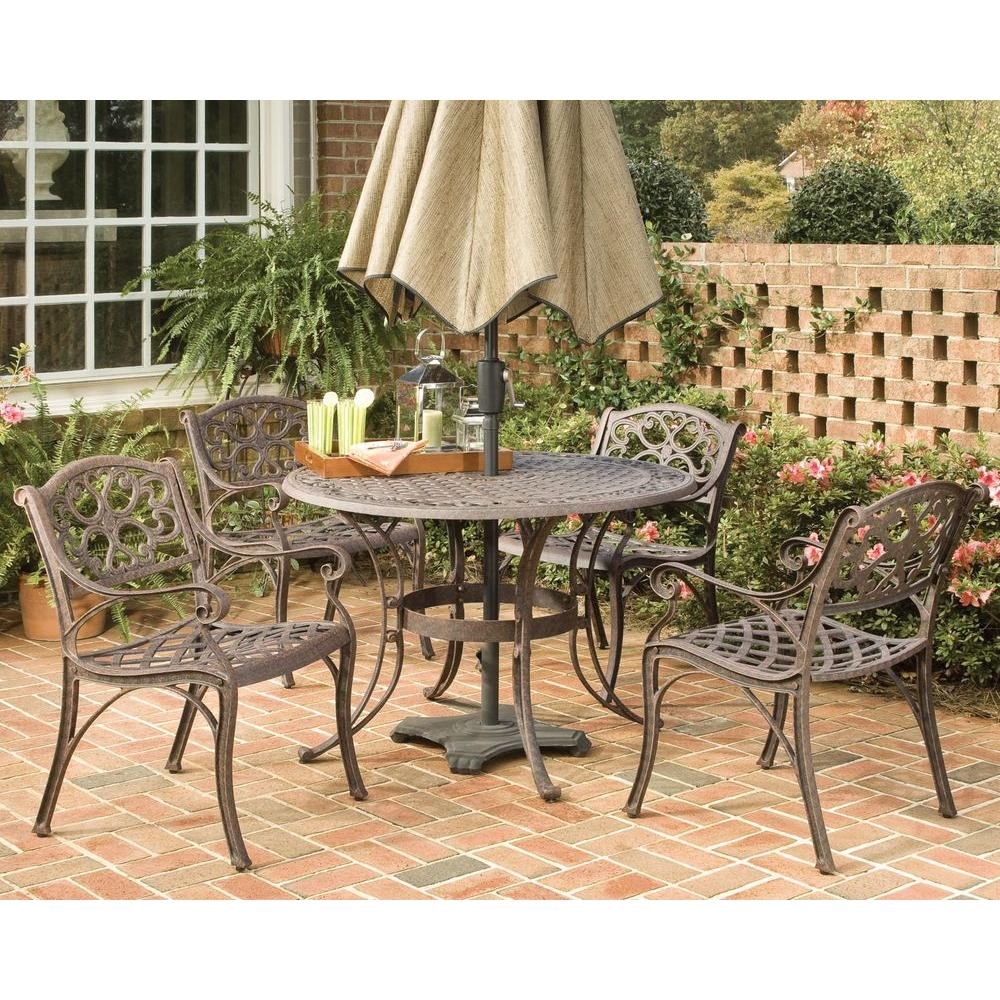 Home Styles Biscayne 48 in. Bronze 5-Piece Round Patio Dining Set