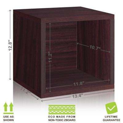 Eco Stackable zBoard 13.4 in. x 12.8 in. Tool-Free Assembly Storage 1-Cube Unit Organizer in Espresso Wood Grain