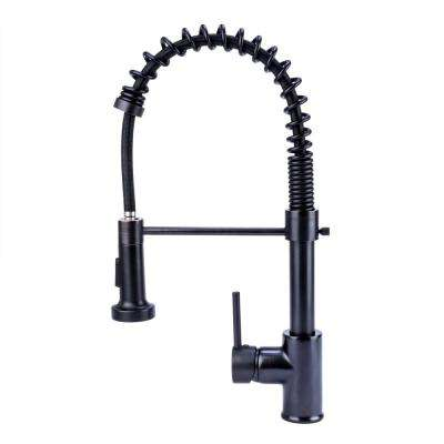 1-Handle Short Spring  Pull-Down Sprayer Kitchen Faucet in Oil Rubbed Bronze