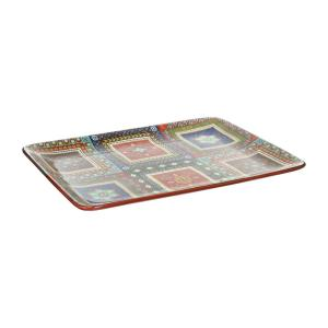 Monterrey 16 in. x 12 in. Multi-Colored Ceramic Rectangular Platter