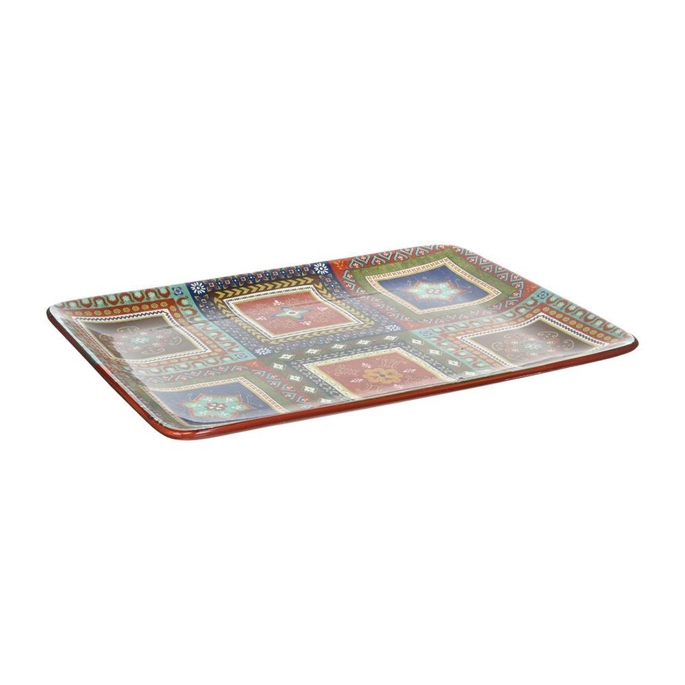 Monterrey 16 in. x 12 in. Multi-Colored Ceramic Rectangular Platter