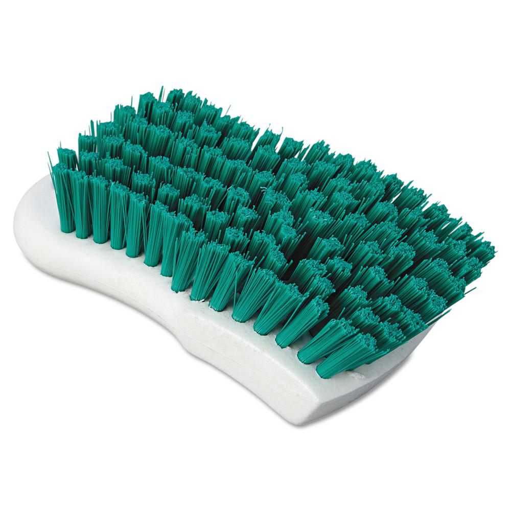 6 in. Green Polypropylene Bristle Scrub Brush with White Handle