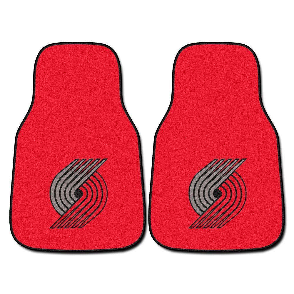 FANMATS Portland Trail Blazers 18 in. x 27 in. 2-Piece Carpeted Car Mat Set