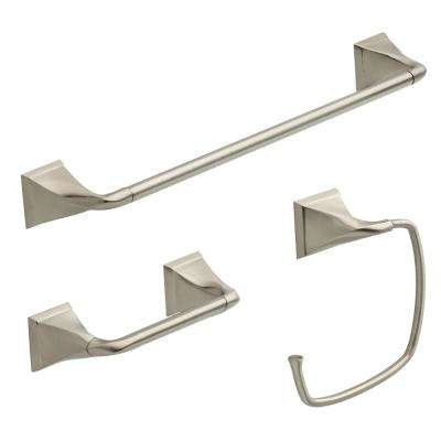Everly 3-Piece Bath Hardware Set with Towel Ring/Toilet Paper Holder and 24 in. Towel Bar in Brushed Nickel