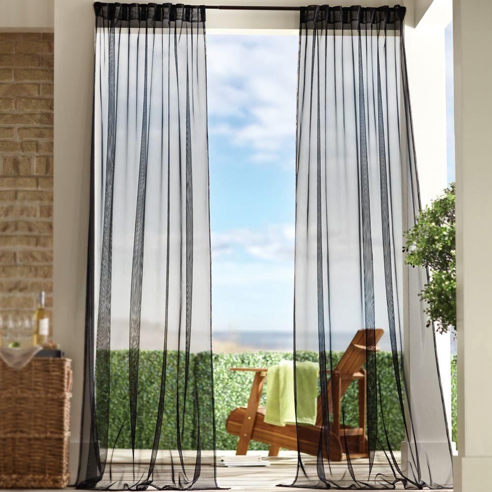 Home Decorators Collection Sheer Black Mesh Outdoor Back Tab Curtain