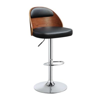 34 in. Amelia PU And Walnut Adjustable Stool Metal/Wood Counter to Bar