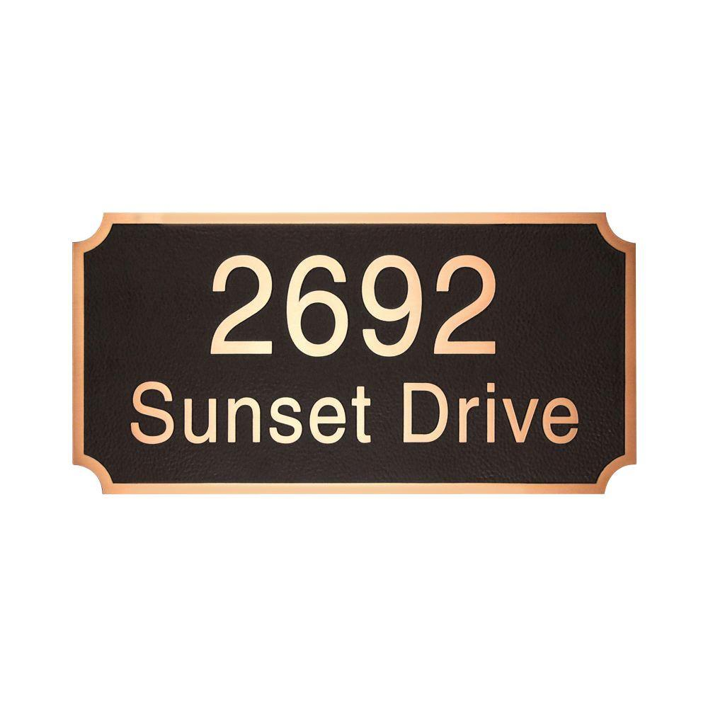 Michael Healy 15 in. x 7.5 in. Notched Corners Authentic Solid Bronze Address Plaque in Black-DISCONTINUED