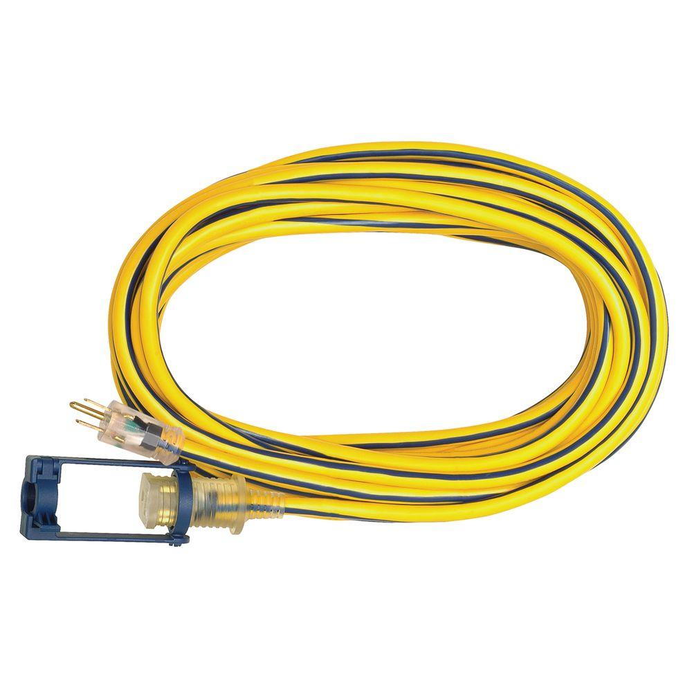 Voltec 25 ft. 12/3 SJTW Outdoor Extension Cord with E-Zee Lock and Lighted End, Yellow with Blue Stripe