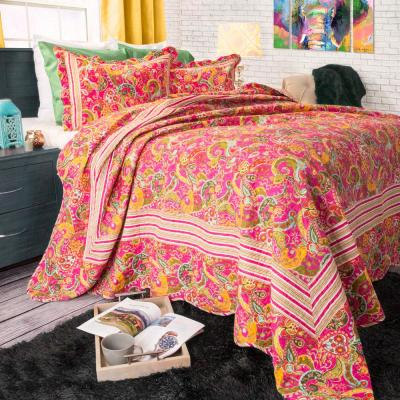 Paisley Pink Polyester King Quilt
