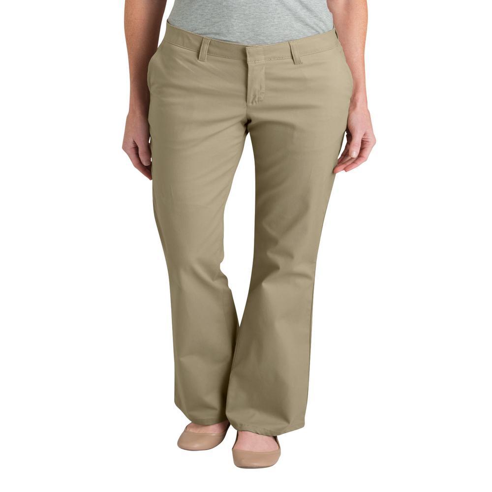 Women's Desert Sand Slim Fit Boot Cut Stretch Twill Pants