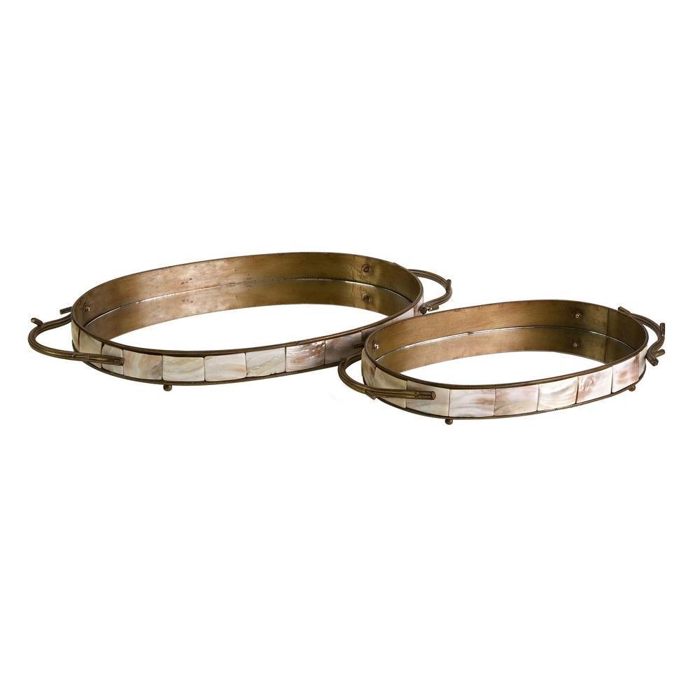 Lenor 2.25 in. Bronze Iron Tray (Set of 2)