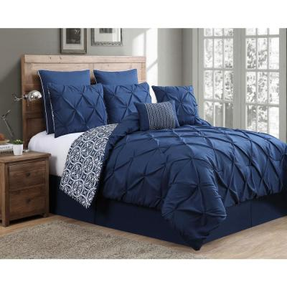 Ellery 8-Piece Navy Queen Reversible Comforter Set with Euro Shams