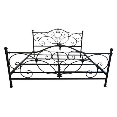 King-Size Charcoal Gray Metal Scrollwork Bed Frame