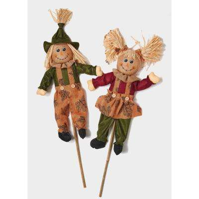32 in. Scarecrow on Stick Set Of 2