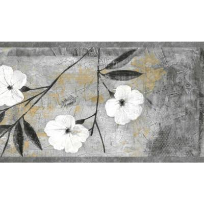 Falkirk Brin Abstract Flowers White, Gray, Brown, Black Wallpaper Border