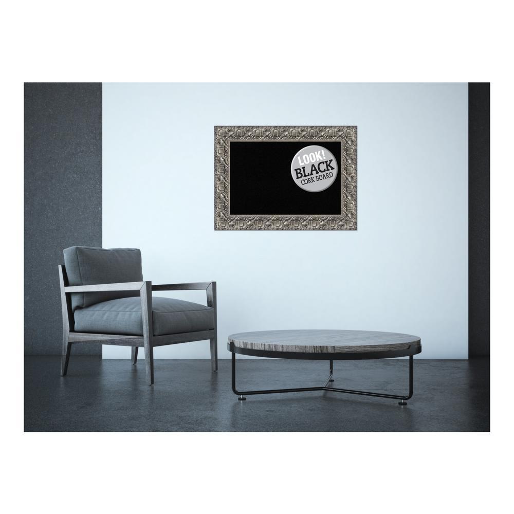 Silver Luxor Wood 30 in. x 22 in. Framed Black Cork Board