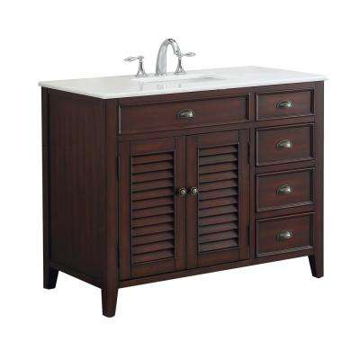 Palm Beach 42 in. W x 21.75 in. D Vanity in Brown with Marble Vanity Top in White with White Basin