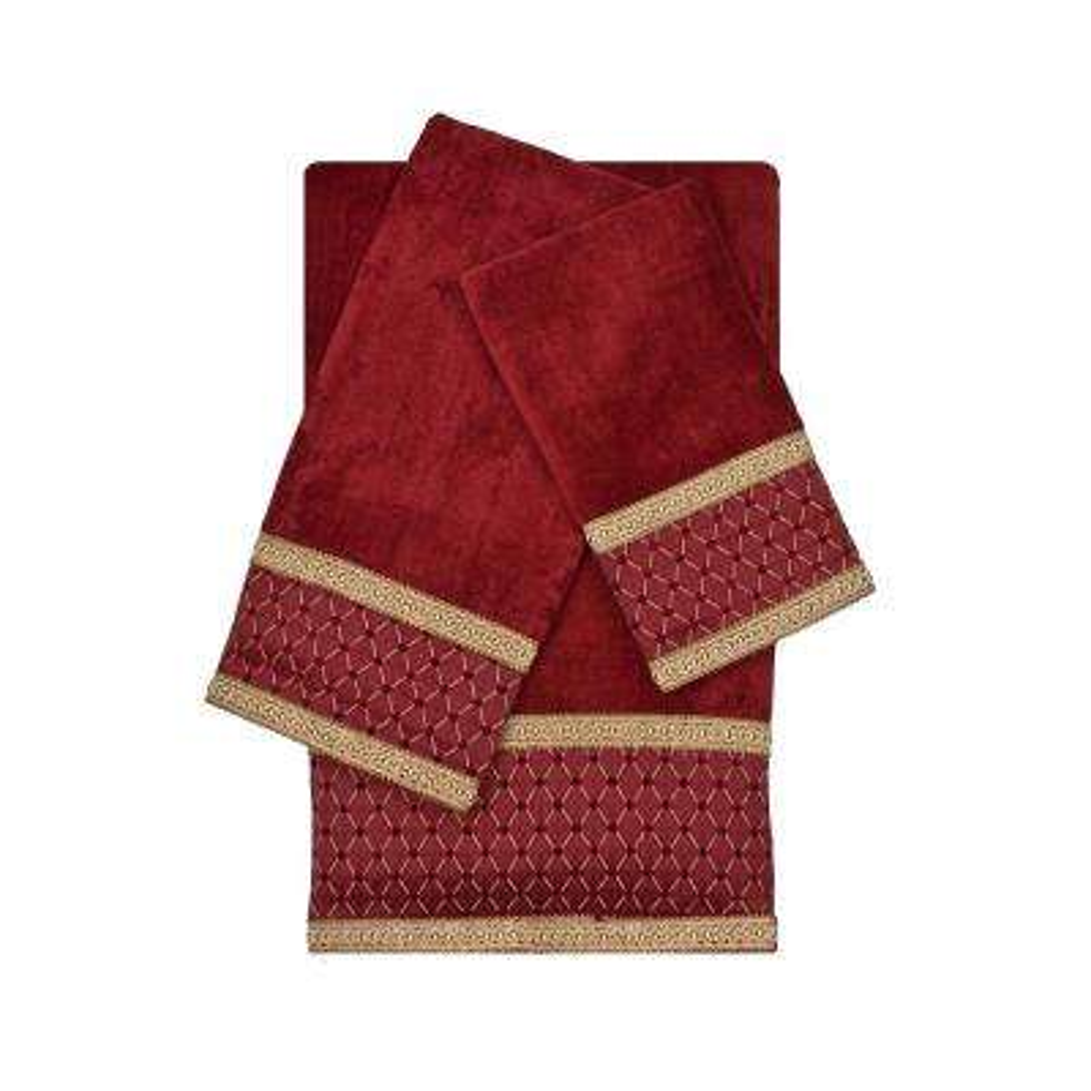 Melrose Red Decorative Embellished Towel Set (3-Piece)