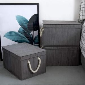 9-Gal. Jumbo Rectangle Polyester Storage Bin with Lid and Cotton Rope Handles in Slate (Set of 2)