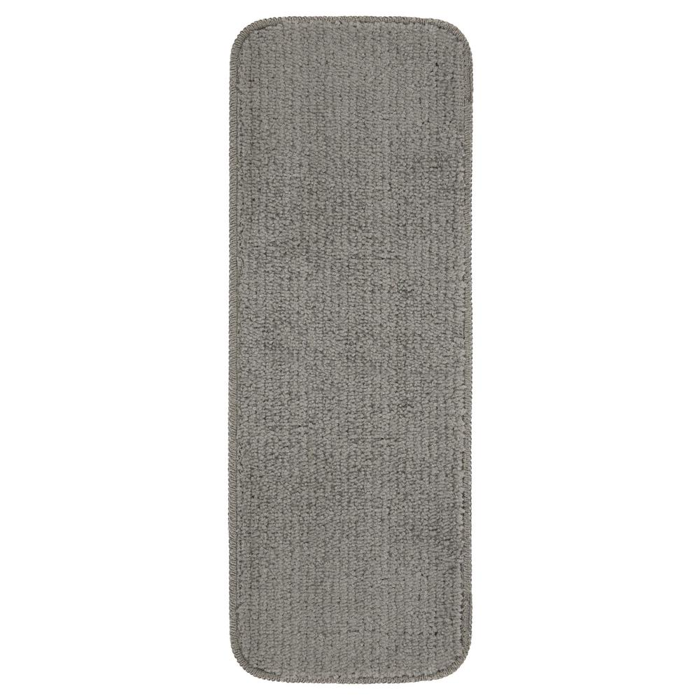 OTTOMANSON Ottomanson Comfort Collection Grey 9 in. x 26 in. Rubber Back Plush Stair Tread (Set of 7)
