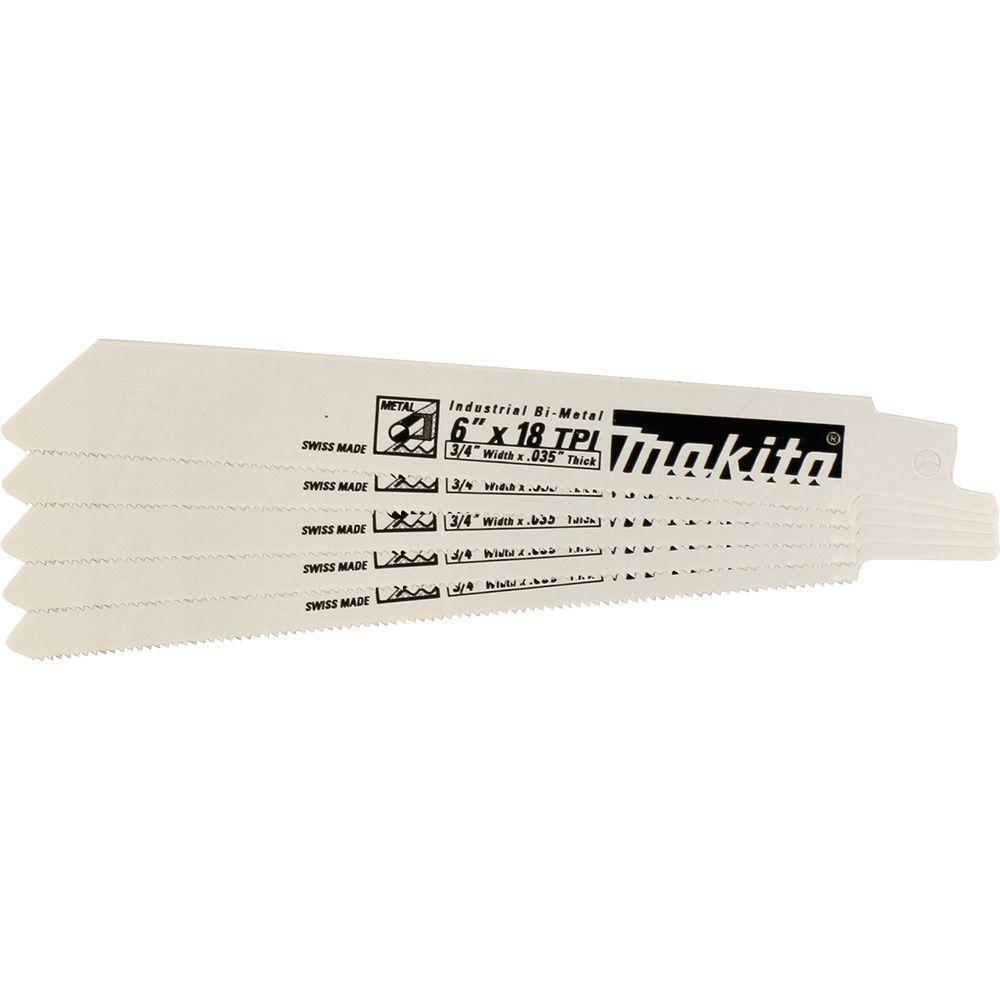 Makita 6 inch 24 Teeth per inch Metal Cutting Reciprocating Saw Blade (5-Pack) by Makita