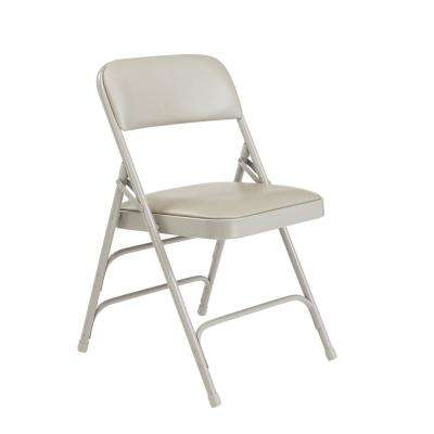 1300 Series Warm Grey Premium Vinyl Upholstered Triple Brace Double Hinge Folding Chair (4-Pack)
