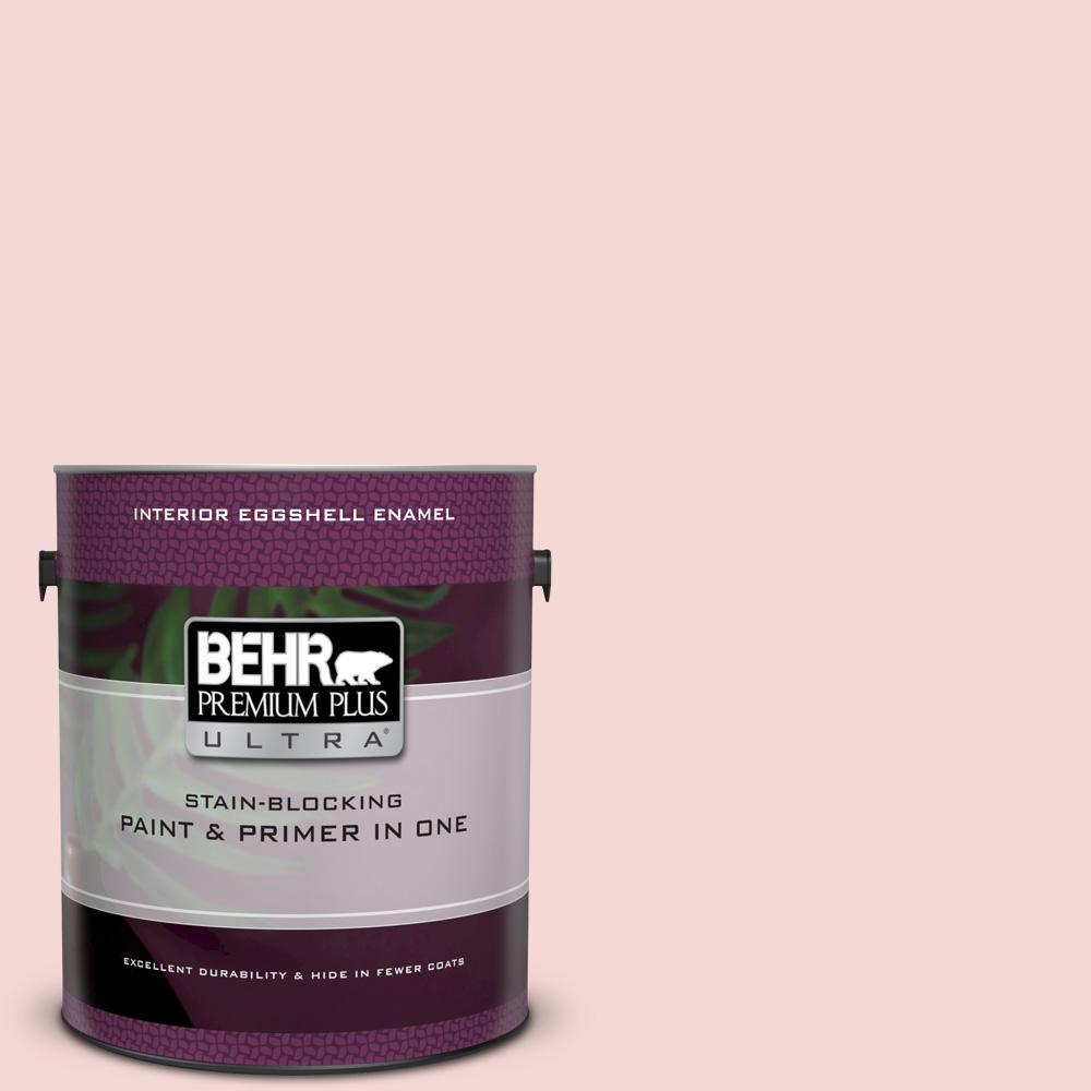 BEHR Premium Plus Ultra 1 gal. #M160-1 Cupcake Pink Eggshell Enamel Interior Paint and Primer in One