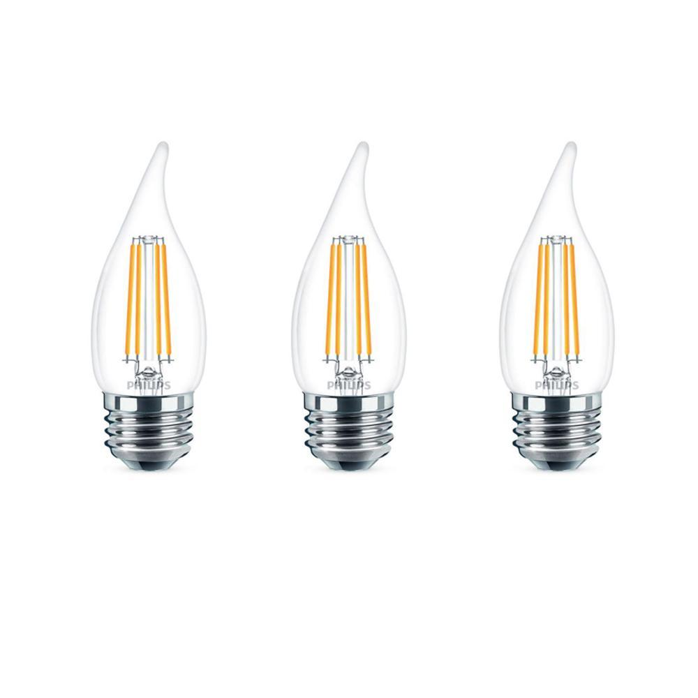 60-Watt Equivalent B11 Dimmable Edison LED Candle Light Bulb Glass Bent Tip Medium Base Daylight (5000K) (3-Pack)